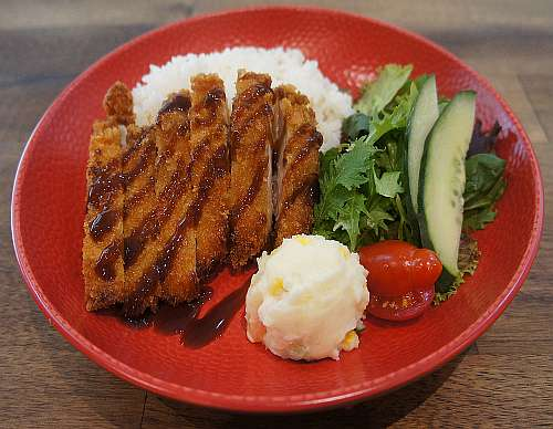 Chicken Cutlet & Rice with Salad