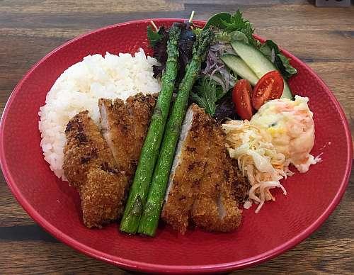 Pork Cutlet , Asparagus & Rice with Salad