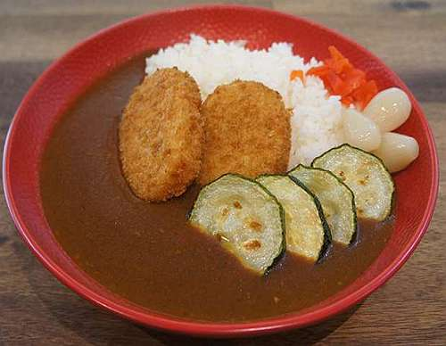 topped with Vegetable Croquette & Zucchini